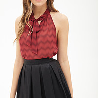 LOVE 21 Chevron Tulip Back Blouse Red/Wine