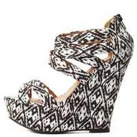 Printed Strappy Platform Wedge Sandals