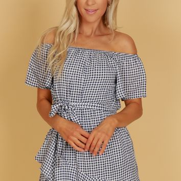 Gingham Print Ruffle Dress Navy