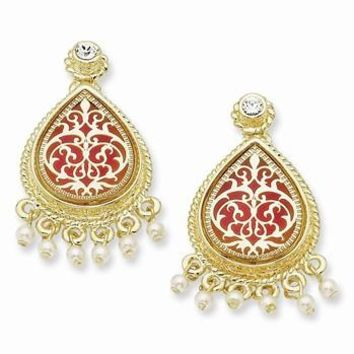 Gold-plated Sim Pearl Enameled French Moroccan Post Earrings