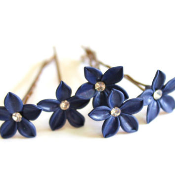 Deep Blue Flower,Bridal Hair Pins, Stephanotis Hair Pins With Swarovski crystals,Perfect For Bride,Bridesmaids,Blue Bridesmaid Jewelry - Set