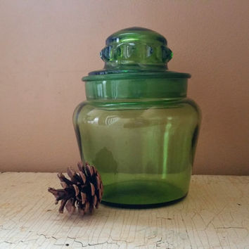Green Glass Small  Apothecary Canister Mid Century Glass Ground Glass Lid