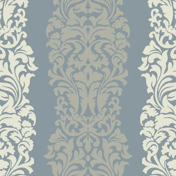 Sample of Harmony Wallpaper in Metallic Blue and Ivory design by York Wallcoverings