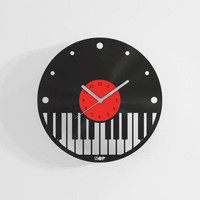Piano shaped wall clock from upcycled vinyl record (LP) | Hand-made gift for musician | Unique home wall decoration gift for piano player