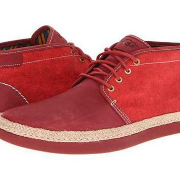 DCCK8X2 UGG Australia Red Suede/Textile Ankle Boots