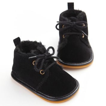 Vintage Rubber Bottom Winter Baby Shoes Boots Non-Slip Newborn Infant T-tied First Walkers Super Warm Baby Booties Zapatos