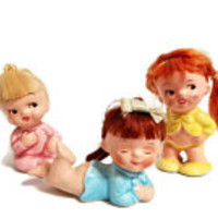 Baby Girls Set of Three National Potteries Japan Imports Napco C-7588