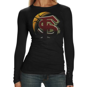 Florida State Seminoles :FSU: Ladies Black Blackout Long Sleeve T-shirt