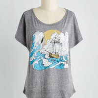 Nautical Mid-length Short Sleeves Sail Tactics Top