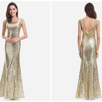 Gold Long Evening Dress
