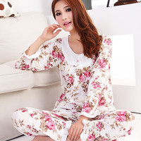 2015  New women long-sleeve cotton sleep  pajama sets female nightwear lady floral Pyjamas nightgowns  teenage pijamas sleepwear