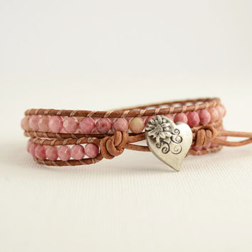 Double wrap bracelet. Pink boho chic jewelry
