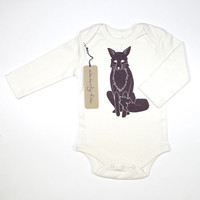 Winter Fox Organic Long Sleeve Bodysuit in Natural