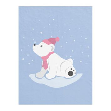 Polar Bear Cub Fleece Blanket