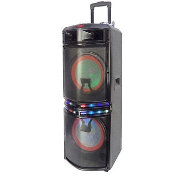 Befree Sound Dual 10 Inch Subwoofer Bluetooth Portable Party Speaker with Sound Reactive Party Lights, USB- SD Input, Rechargeable Battery, Remote Control And 2 Wireless Microphones
