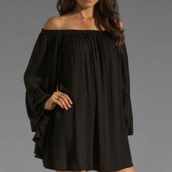 Black Off-shoulder Ruffled Chiffon Long Sleeve Shift Mini Dress