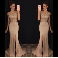 Long Prom Dress 2017 for Girl Slinky Champagne Sleeveless Side Slit Beaded See Through Stretch Satin Mermaid Prom Dresses