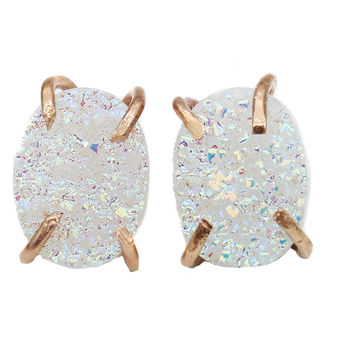 Gold Filled AB Angel Druzy Oval Claw Studs Earrings