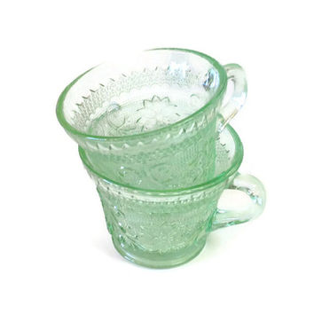 Vintage Tiara Glass, Chantilly Green Cups, Tiara Crystal Sandwich Glass Punch Cups