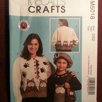Uncut 2005 McCall's sewing Pattern, 5018! Sweatshirt Appliques/Kitty Applique/Beret Purse & Pin/Arts and Crafts/Clothing Designs