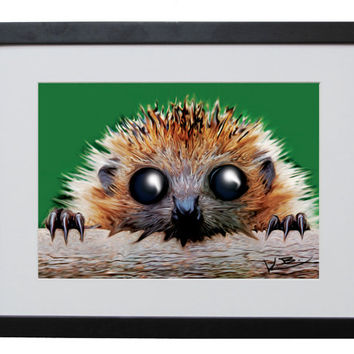 Hedgehog Digital Painting Print, Large 420mm x 297mm, Signed Print, Funny Animal, Funny Hedgehog, Hedgehog Picture, Art, Cute Drawing