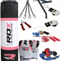 RDX 13 Piece Ladies Boxing Set-4FT Filled Punch Bag with Gloves