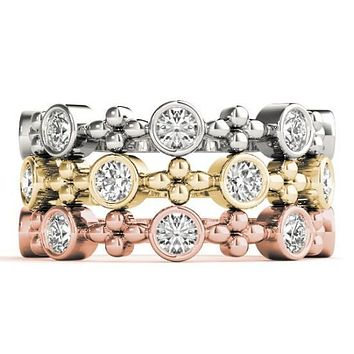 Stackables 3/4 Eternity Tri-Tone Gold Full Bezel Diamond and Clover Beads 3-Band Set Selectables