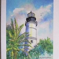 Key West Lighthouse - Florida 5 x 7 blank note card watercolor print watercolorsNmore