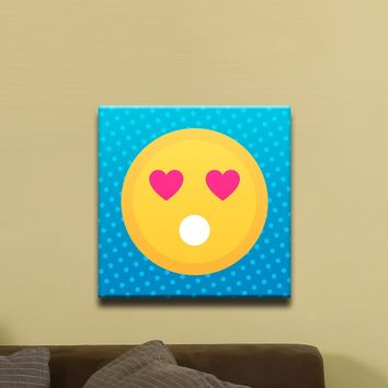 """In Love Face, Flat Shaded Heart Eyed Emoji (12"""" x 12"""") - Canvas Wrap Print"""