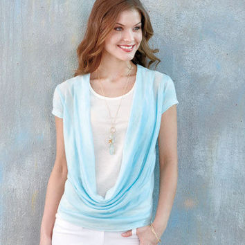 Blue Women's Cowl-Neck Duet Top W/Camisole Sizes Med 10/12 Large 14/16 XL 18/20