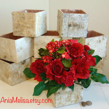 birch bark vases, wood boxes floral arrangement square flower pot, centerpieces planter rustic, chic wedding table decor