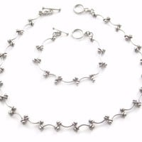 Modern Sterling Ball Sphere Necklace and Bracelet Jewelry Set
