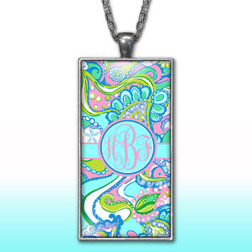 Blue Sea Shells Monogram Pendant Charm Necklace Paisleys Personalized Custom Initial Necklace Monogram Jewelry