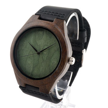 GK Timepiece Watch Men Circular Wooden Quartz Movement with Black Soft Leather Band for Christmas Gift