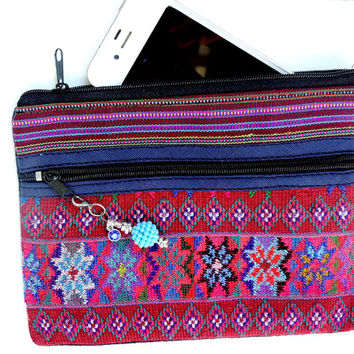 fabric clutch, boho wristlet, tribal pouch, cosmetics bag, ethnic bags, Guatemala handwoven
