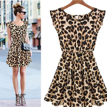 Women Fashion Sexy Leopard Casual Evening Cocktail Party Mini Dressard Casual Evening Cocktail Party Mini Dress