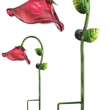 Pink Glass and Metal Solar LED Bell Flower Garden Stake Statuary (Set of 2)