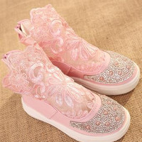 Kids party shoes spring 2016 lace hollow out shoes hot style children's fashion sweet princess elsa shoes infantis 453d