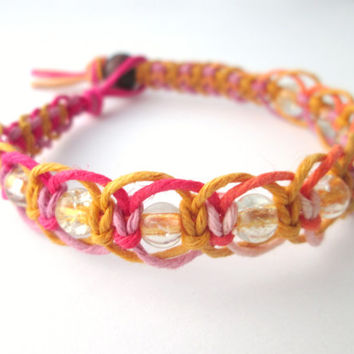 Summer Hemp Bracelet Glass Beaded Pink Yellow Orange Eco-friendly Jewelry