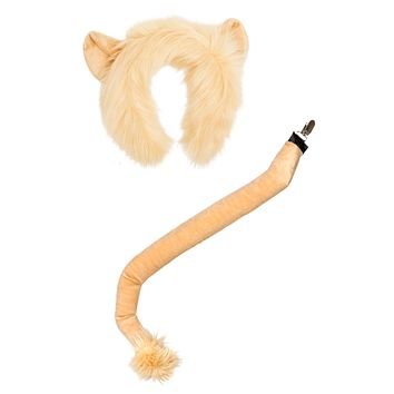 Plush Lion Ears Headband and Tail Set for Lion Costume, Cosplay, Pretend Animal Play or Safari Party Costumes