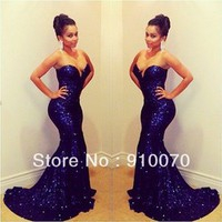 Sparkling Sweetheart Off Shoulder Sleeveless Mermaid Long Deep Blue Sequined Lace Prom Dresses 2014 Short Trailing