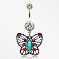 Vintage Boho Butterfly Fliligree Belly Button Ring
