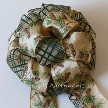 Rustic Woodland Christmas Bow Green Brown Pinecones Christmas Tree Top Bow Christmas Wreath Swag Bow Winter Wedding Bow