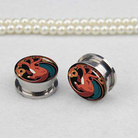 Pairs  drag0n   plugs gauges  , Stainless Steel Flesh Tunnel Ear Plugs, Screw Body Piercing Jewelry, Ear Expander,women ear plugs