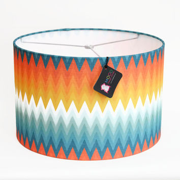 Modern Cheveron Lamp Shade/ Pendant Lamp / Swag Lamp - Choose Your Size - Orange White and Teal