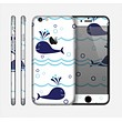 The Navy Blue Smiley Whales Skin for the Apple iPhone 6