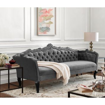 TOV Furniture TOV-S44 Brooks Tufted Grey Velvet Sofa w/ Ornate Hand Carved Frame