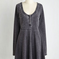 Mid-length Long Sleeve A-line On a Grinning Streak Dress in Charcoal