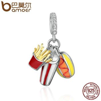 Genuine 925 Sterling Silver Delicacy Temptation Tasty Food Pendant Charms fit Women Charm Bracelets DIY Jewelry SCC347