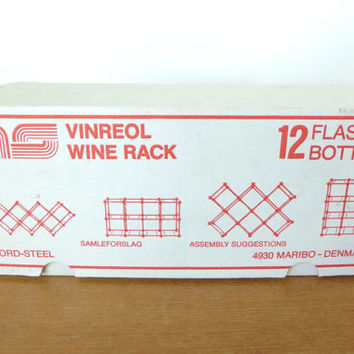 Vintage Swedish metal wine rack kit, customizable to hold 12 bottles